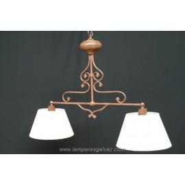 Lámpara Colgante de Forja Marrón con Pantallas 2 Luces