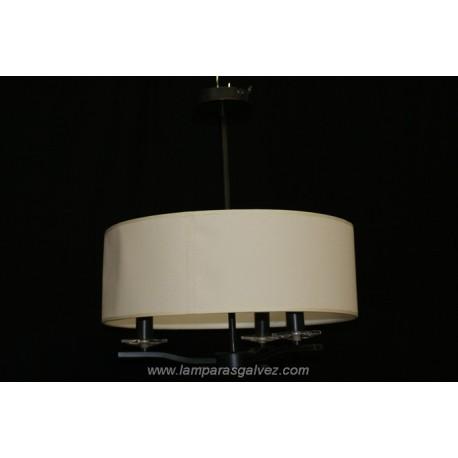 Lámpara Colgante de Forja Óxido Marrón Pantalla Gigante 3 Luces