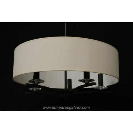 Lámpara Colgante de Forja Óxido Marrón Pantalla Gigante 5 Luces