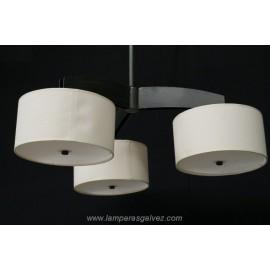 Lámpara Colgante de Forja Óxido Marrón con Pantallas 3 Luces