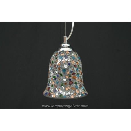 Lámpara Colgante con Forma de Campana Cristales Multicolor 45cm