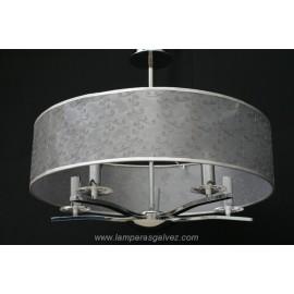 Lámpara cromo 5l. con pantalla redonda