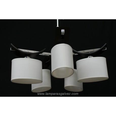 Lámpara cromo wengue con pantalla ovalada