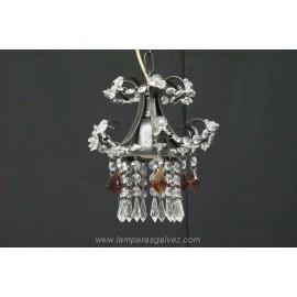 Lámpara Colgante de Forja Marrón con Abalorios de Cristal