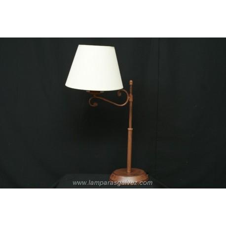 Lámpara de Sobremesa de Forja Marrón con Pantalla