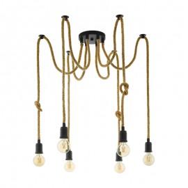 Lámpara Colgante Eglo Rampside Negro y Cuerda 6 Bombillas E27