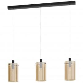 Lámpara Colgante Eglo Polverara Negro y Ámbar 3 Bombillas E27