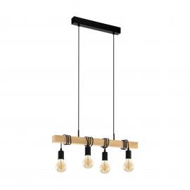 Lámpara Colgante Vintage Eglo Townshend Negro 4 Bombillas E27 70cm