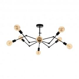 Lámpara Colgante Vintage Eglo Exmoor Negro 8 Bombillas E27 96cm
