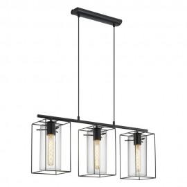 Lámpara Colgante Vintage Eglo Loncino Negro 3 Bombillas E27 74,5cm