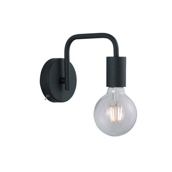 Aplique de Pared Trio Diallo Negro 1 Bombilla E27