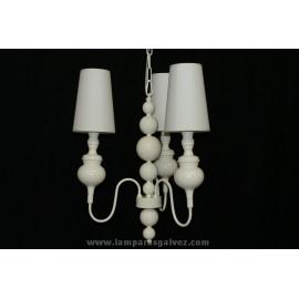 Lámpara de Brazos Crema 3 Luces con Pantalla