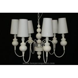 Lámpara de Brazos Crema 6 Luces con Pantalla