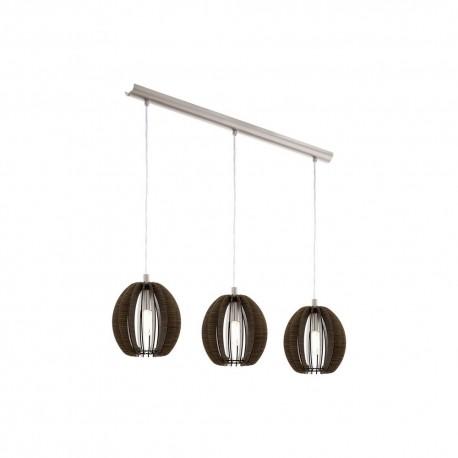 Lámpara Colgante Eglo Cossano Marrón 3 Bombillas E14 79cm