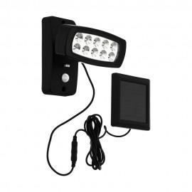 Aplique de Pared Exterior Solar LED Eglo Palizzi Negro Luz Cálida 2W