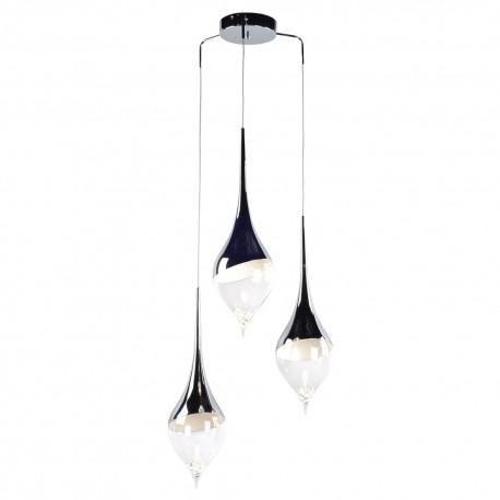 Lámpara Colgante Gota Cromo y Cristal 3 Bombillas GU10