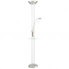 Lámpara de Pie LED con USB MDC Dina T Cromo Mate 2 Luces Regulables