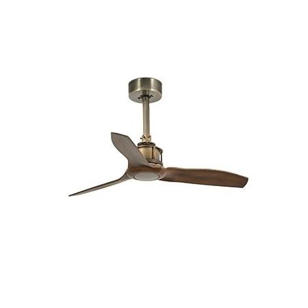 Ventilador de Techo Faro Just Fan Xs Oro Viejo palas imitación madera 91cm
