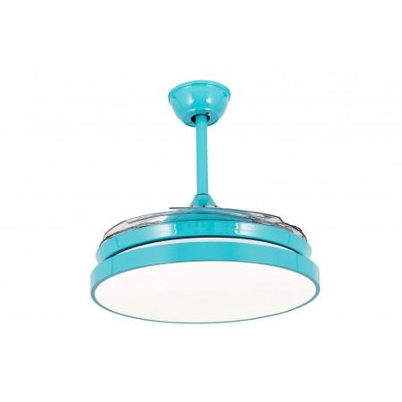 Ventilador de Techo LED Tegaluxe Picasso Turquesa Aspas Retráctiles