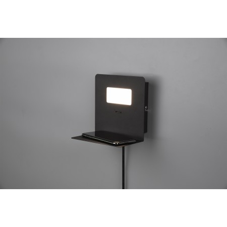 Aplique de Pared Trio Aloft LED-USB Negro