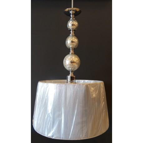 Lámpara Colgante Cromo Bolas con Pantalla Hilo 40cm