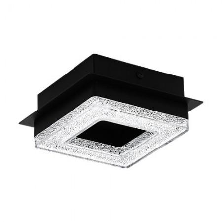 Plafón de Techo LED Eglo Fradelo Negro Luz Cálida 4W 14cm Cuadrado