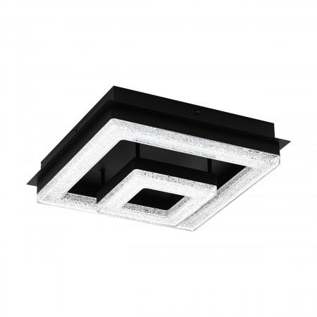 Plafón de Techo LED Eglo Fradelo Negro Luz Cálida 12W 26cm Cuadrado