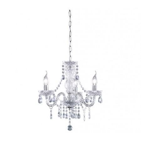 Lámpara de Brazos Trio Lüster Cromo y Cristal 3 Bombillas E14 46cm