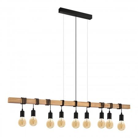 Lámpara Colgante Vintage Eglo Townshend Negro 9 Bombillas E27 150cm