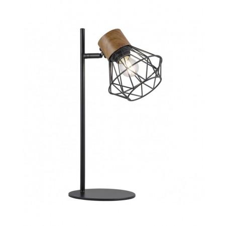 Lámpara de Sobremesa Antibes Negro-Madera 1 x 60W E27