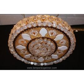 Plafon gigante cristal roca chapado oro