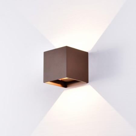 Aplique de Pared Exterior LED Mantra Davos Marrón Cuadrado Luz Cálida 12W