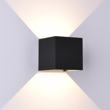 Aplique de Pared Exterior LED Mantra Davos Negro Cuadrado Luz Cálida 12W