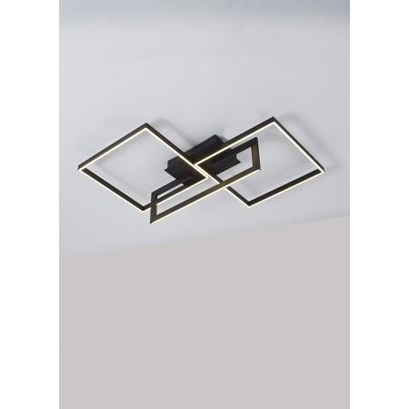 Plafón de Techo LED Mantra Mural Negro Luz Cálida 48W Regulable