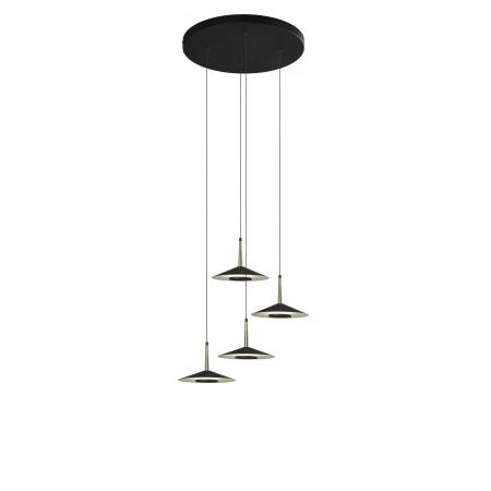 Lámpara Colgante Circular LED Mantra Orion negro/cuero 32W 3000k