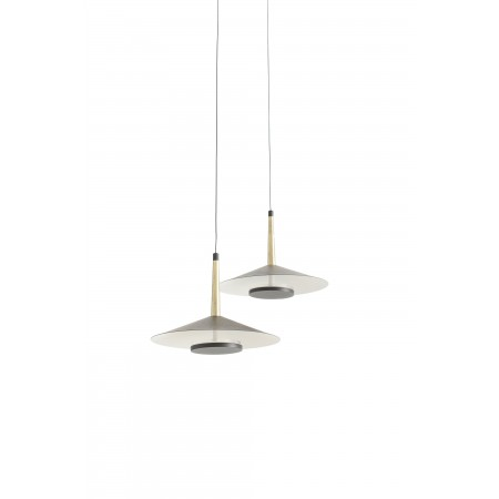 Lámpara Colgante LED Mantra Orion negro/cuero 2 Luces 16W 3000k