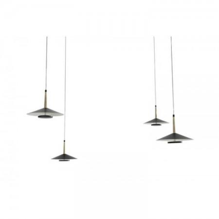 Lámpara Colgante LED Mantra Orion negro/cuero 4 Luces 32W 3000k