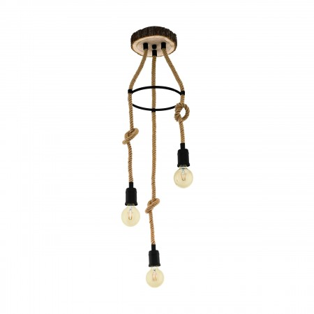 Lámpara Colgante Eglo Rampside Circular Negro y Cuerda 3xE27