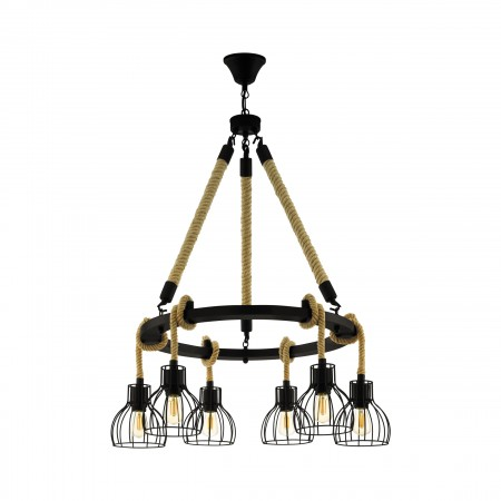 Lámpara Colgante Eglo Rampside Circular Negro y Cuerda 6xE27