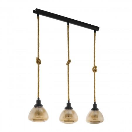 Lámpara Colgante Eglo Rampside Lineal Negro y Cuerda 3xE27