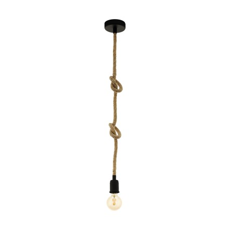 Lámpara Colgante Eglo Rampside Negro y Cuerda 1xE27
