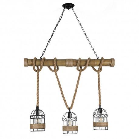 Lámpara Colgante Fabrilamp Soga 3xE27 Cuerda y jaula