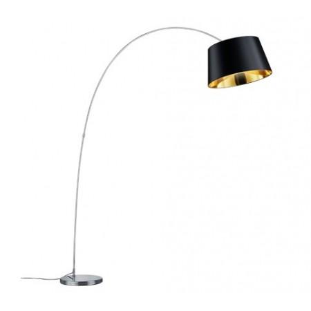 Lámpara de Pie Arco Linz Cromo con pantalla Negra Oro