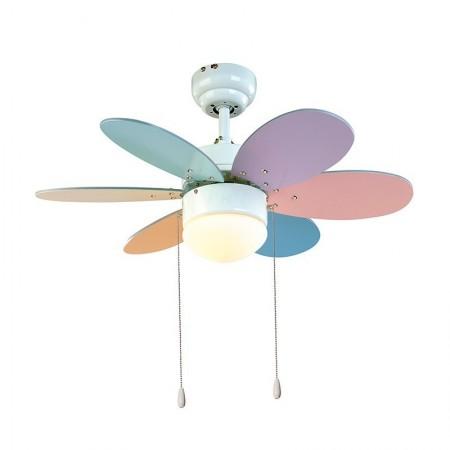 Ventilador de Techo Sulion Rainbow multicolor pastel/brillo Palas Reversibles