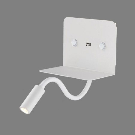 Aplique de Pared para Dormitorio Calma con USB Blanco