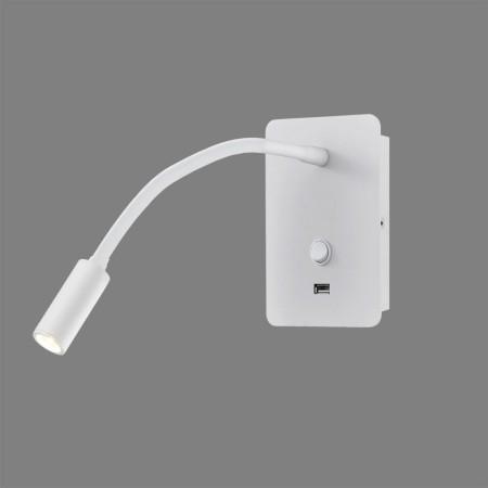 Aplique de Pared para Dormitorio Senda con USB Blanco