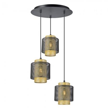 Lámpara Colgante Fabrilamp KYOTO Negro Oro 3xE27