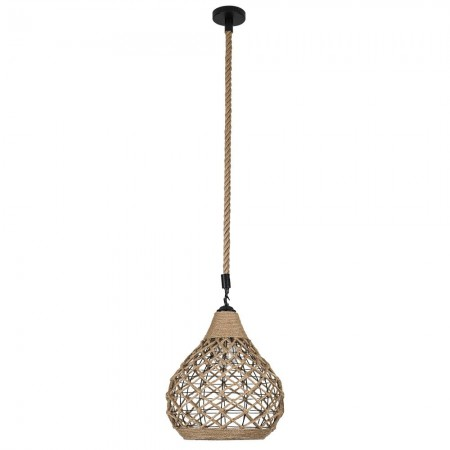 Lámpara Colgante Fabrilamp Soga Cuerda Boho Pera REGx32D