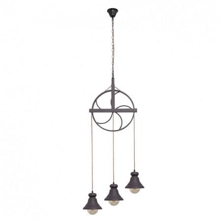 Lámpara Colgante Fabrilamp Soga Rueca 3xE27 Cuerda y Campana
