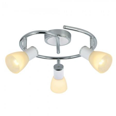 Regleta de Focos Circular Fabrilamp Cholo Blanco/Cromo 3xE14